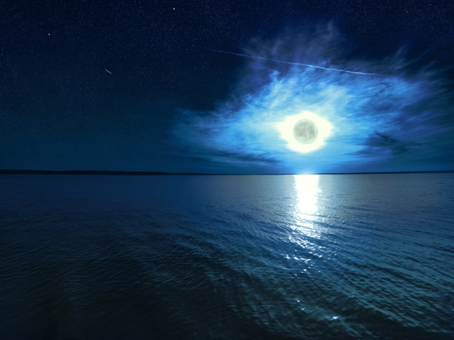 Beautiful Magic Blue Night Starry Sky With Clouds And Full Moon