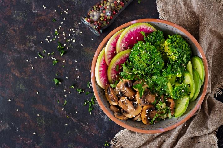 Vegan Buddha Bowl Dinner Food Table. Healthy Food. Healthy Vegan