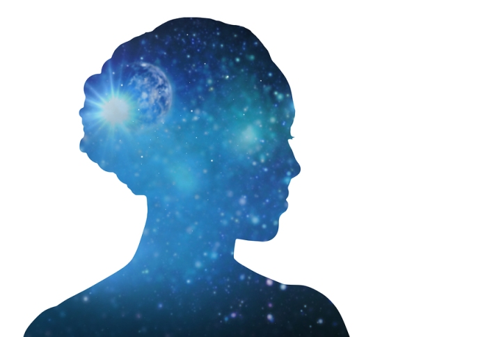 mindfulness, harmony and spirituality concept - blue woman silho
